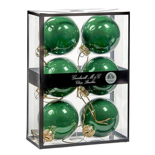 Doos met 6 glazen kerstballen