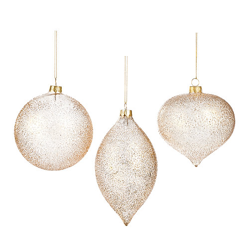 Set van 3, ornamenten goud crush