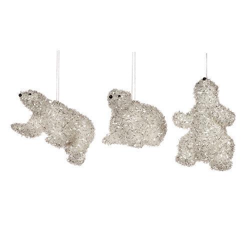 Set van 3, tinsel ijsbeertjes