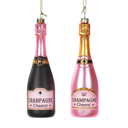 Glazen handgeschilderde champagnefles