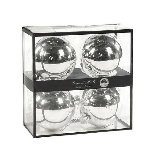 Doos met 4 glazen kerstballen.