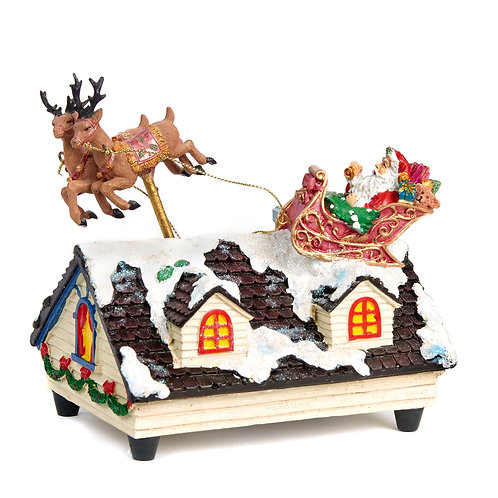 Muziekdoos Kerstman op dak