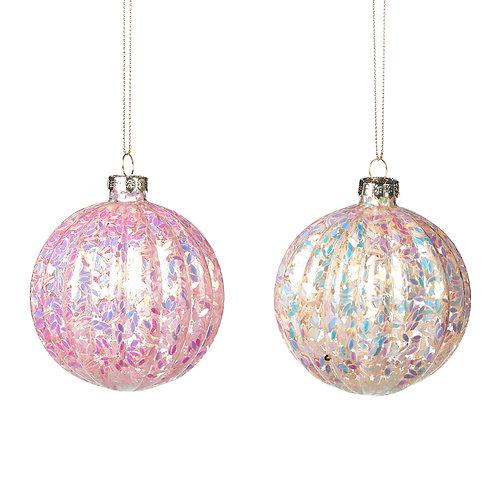 Set van 2, bal met iriserende glitter
