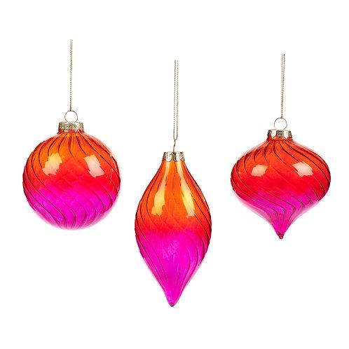 Set van 3, glazen ornamenten fade