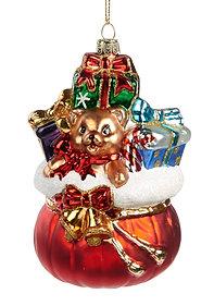 Handgeschilderd glazen figuur, zak van de Kerstman