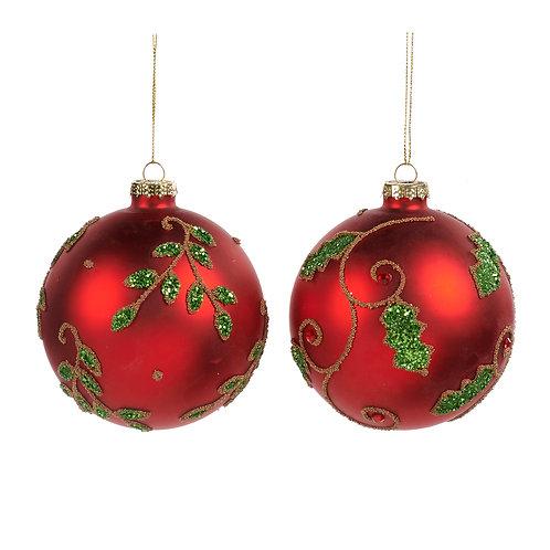 Set van 2, glazen gedecoreerde rode ballen