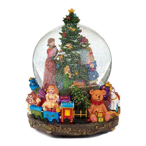 Klassieke sneeuwbol kerstochtend