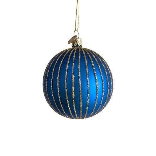 Bal blauw glitter strepen