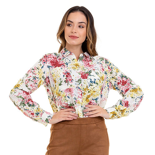 CAMISA CREPE FLORAL OFFWHITE