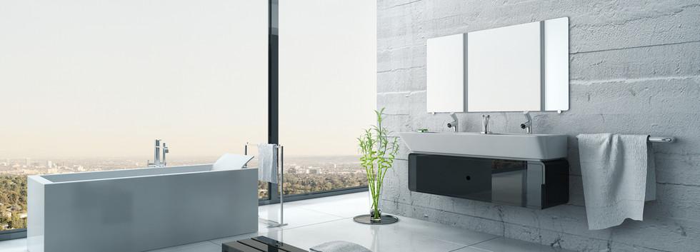 White bathroom interior with concrete wa
