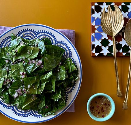 salada com vinagrete de laranja