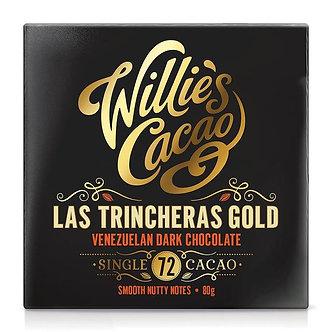 Venezuelan Gold LasTrincheras 72 Chocolate Bar  WILLIE'S CACAO   50g