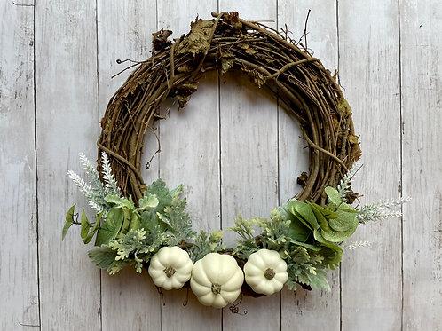 """14"""" White Pumpkin Wreath"""