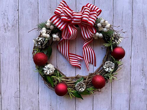 "14"" Silver & Candy Cane Striped Wreath"