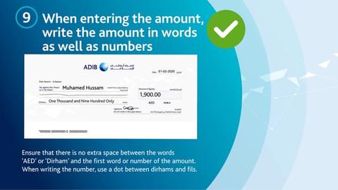 Abu Dhabi Islamic Bank | UAE | Tips for writing Cheque Book-English