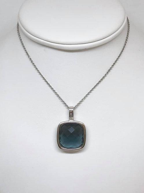 collier zilver met hanger in blauwe geslepen kwarts