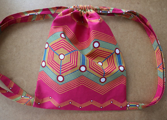 Pink African Print Drawstring Bag - One Available