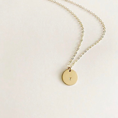 "3/4""Gold disc necklace with lowercase initial"