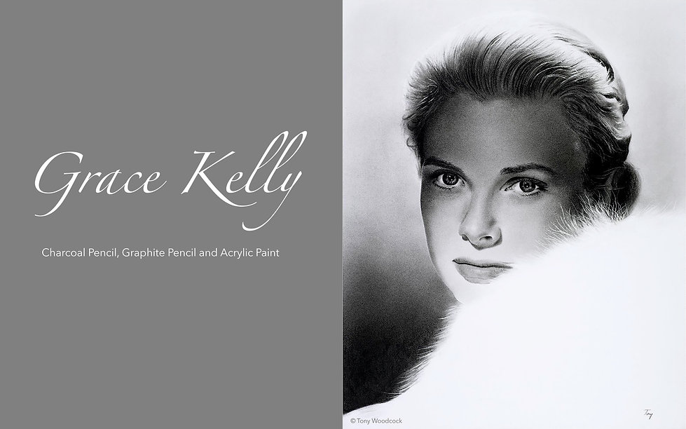Charcoal Pencil, Graphite Pencil and Acrylic Paint of Grace Kelly. Celebrity Portrait