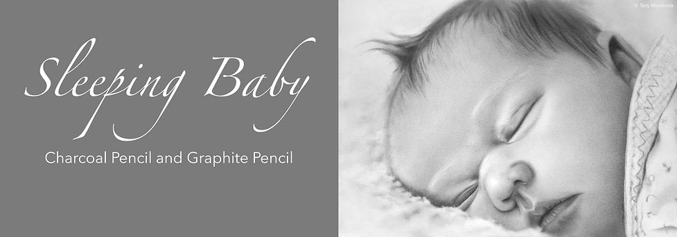 Charcoal Pencil and Graphite Pencil of a Cute Sleeping Baby