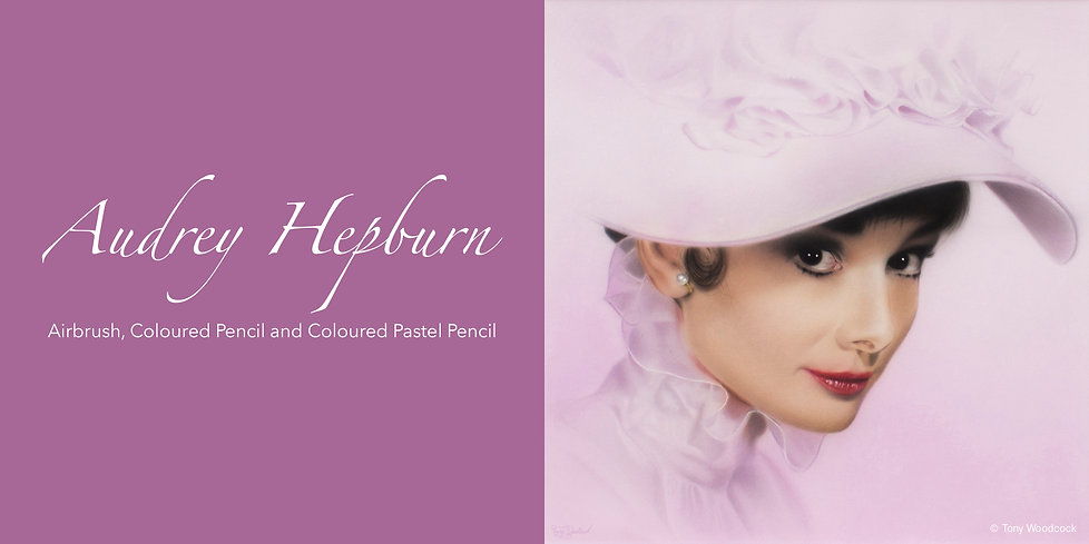 Airbrush, Coloured Pencil and Coloured Pastel Pencil of Audrey Hepburn