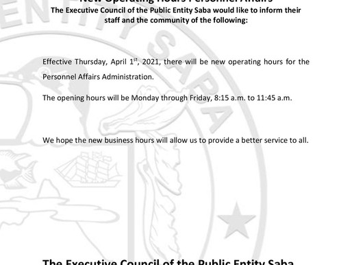 New Operating Hours Personnel Affairs