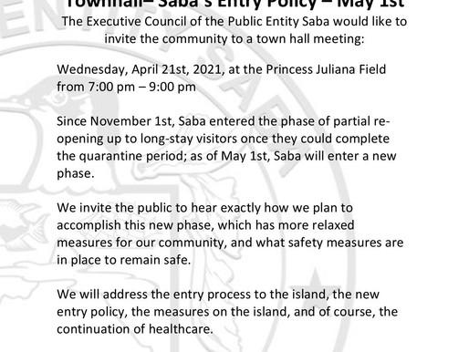 Saba's Entry Policy - May 1st