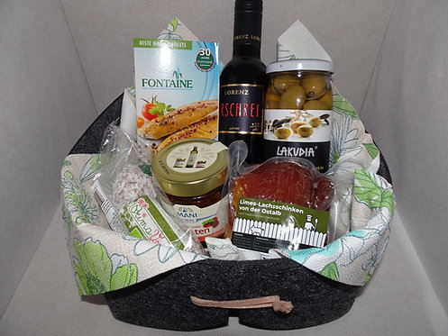 Picanter Geschenkkorb mit exclusiven Köstlichkeiten