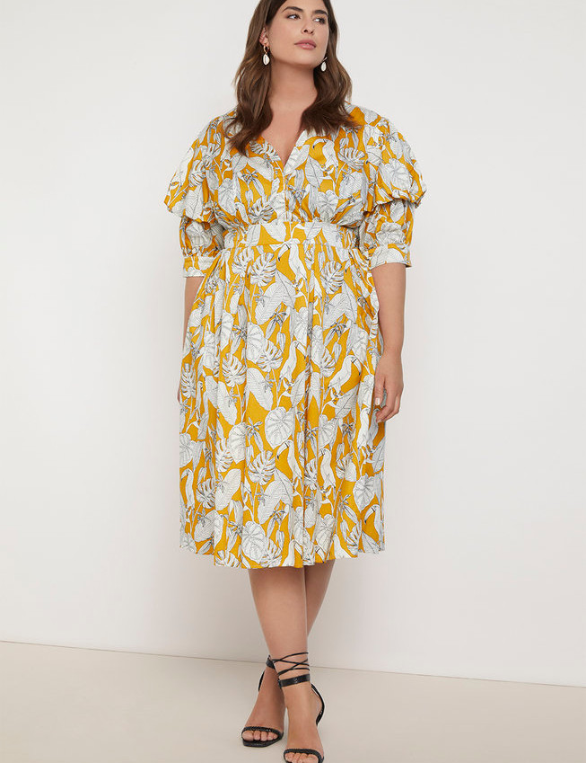 Puff Sleeve Dress   Women's Plus