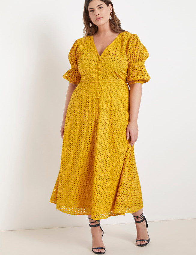 Eyelet Dress with Puff Sleeves