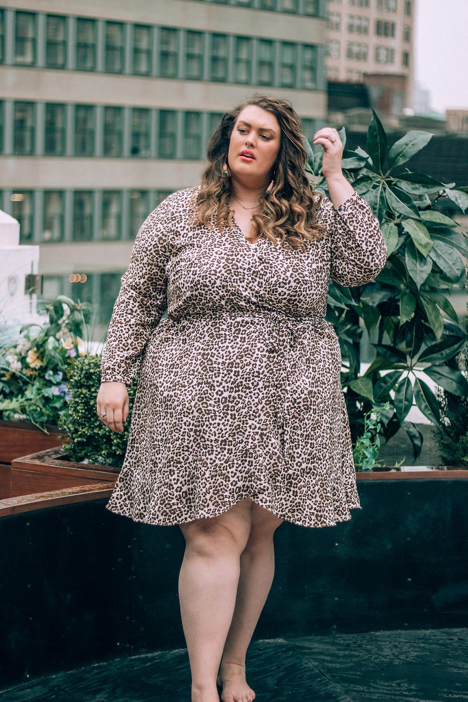 LOFT Plus Leopard Print Ruffle Wrap Dress