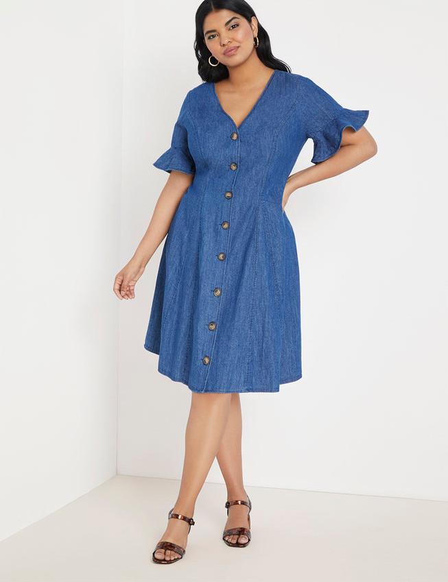 Button Front Chambray Dress   Women