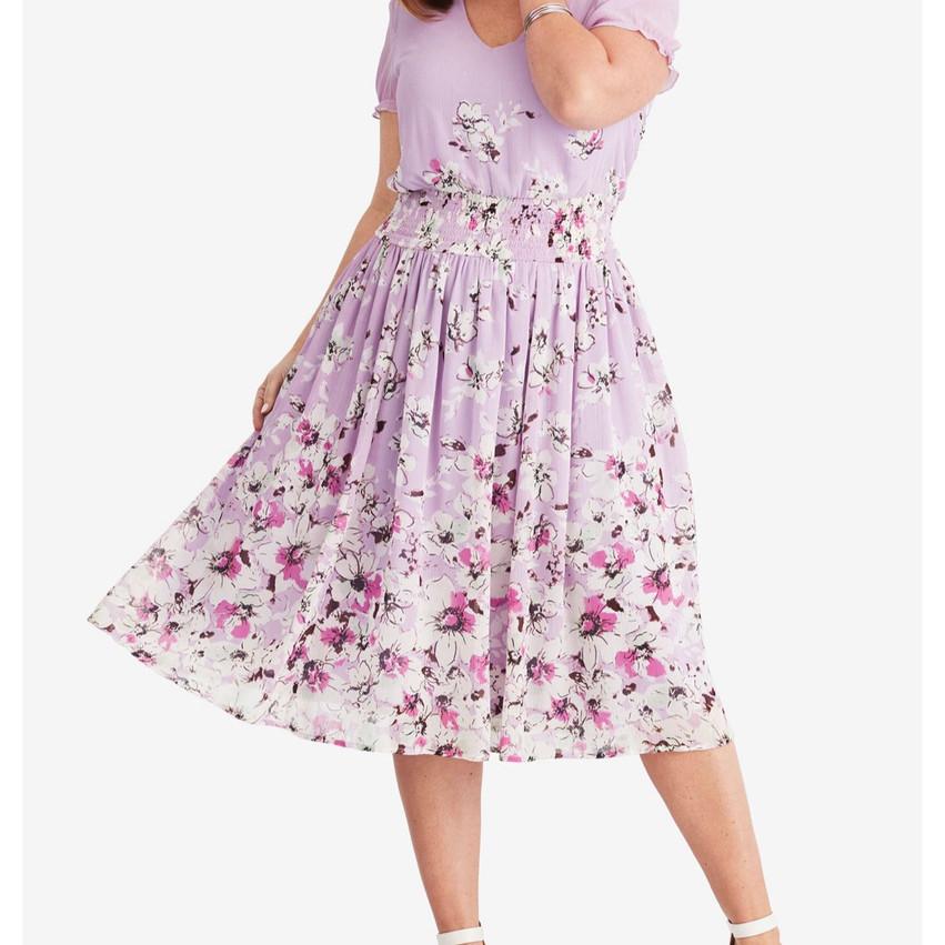 Airy crinkle chiffon midi dress