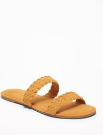 Braided Faux-Suede Slide Sandals