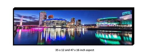 Salford Quays, Media City & Lowry Panoramic Aluminium Box Panel Print