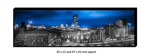 Manchester Skyline Blue Panoramic Aluminium Box Panel Print