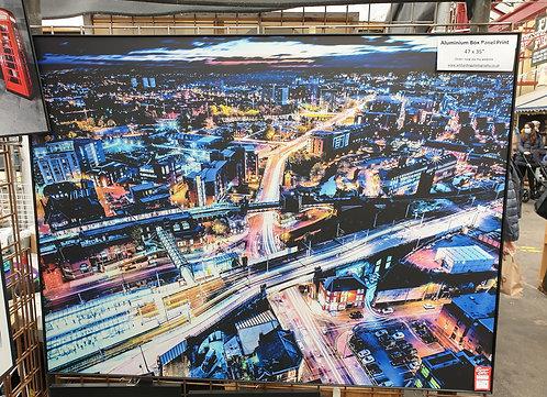 "REDUCED - 47 x 35"" Aluminium Box Panel Print - Manchester Skyline Nights"