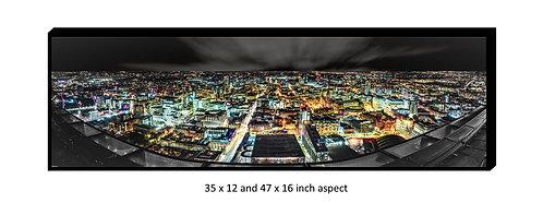 Manchester Skyline Panoramic Aluminium Box Panel Print