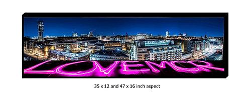 Love Manchester Skyline Panoramic Aluminium Box Panel Print