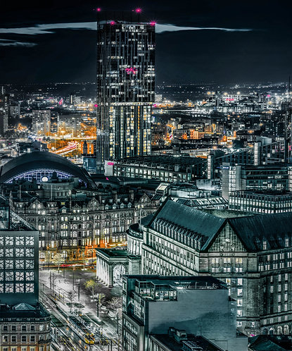 Manchester Skyline St Peters Square Nights