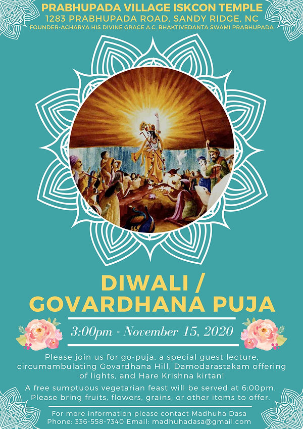 Flyer Prabhupada Village Govardhana Puja