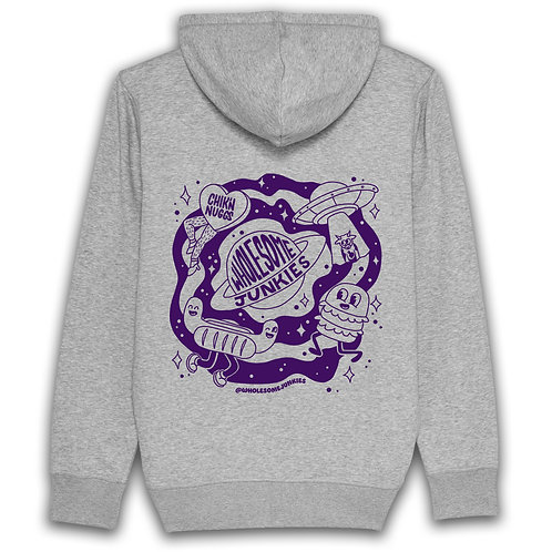 Unisex Light Grey Purple Screen Print Hoodie Front and Back Logo