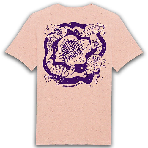 Unisex Cream Peach Screen Print T-Shirt Front and Back Logo