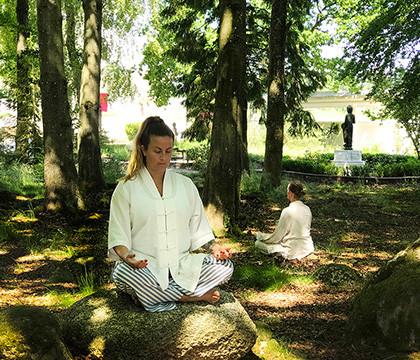 Meditation i parken Andarnas Hus