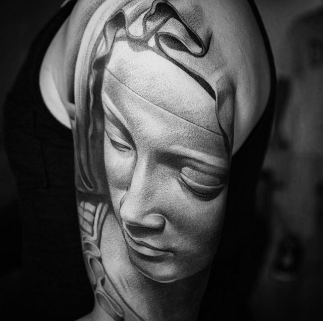 Pieta Virgin Mary tattoo