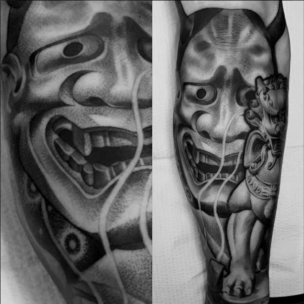 Japanese mask hannya tattoo