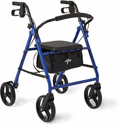 Medline Standard Adult Steel Folding Rollator Walker Aid with 8 Inch Wheels