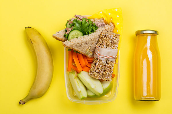 Kids lunch box with sandwich, vegetable