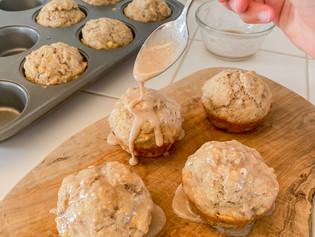 Banana Walnut Muffins with a Maple Glaze