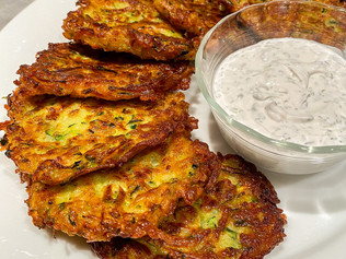 Fried Zucchini Fritters with Dill Sour Cream